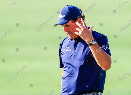 Phil Mickelson of the US reacts after putting on the thirteenth green during the first round of the Arnold Palmer Invitational golf tournament at Bay Hill Club & Lodge in Orlando, Florida, USA, 05 March 2020.