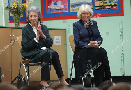 Stock Picture of Felicity Dahl, widow of Roald Dahl, (left) and Camilla Duchess of Cornwall during a visit to Bousfield Primary School in London to celebrate World Book Day.