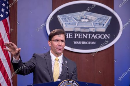 US Secretary of Defense Mark Esper participates in a joint press conference with Britain's Defense Secretary Ben Wallace (unseen) at the Pentagon in Arlington, Virginia, USA, 05 March 2020.
