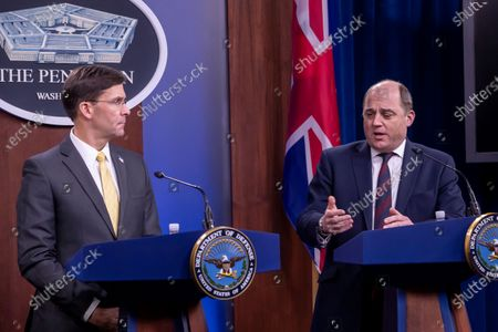 US Secretary of Defense Mark Esper (L) and Britain's Defense Secretary Ben Wallace (R) participate in a joint press conference at the Pentagon in Arlington, Virginia, USA, 05 March 2020.