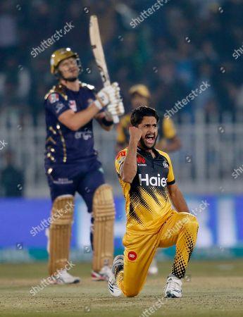 Peshawar Zalmi pacer Hasan Ali, front, celebrates after taking the wicket of Quetta Gladiators batsman Shane Watson during a Pakistan Super League T20 cricket match, in Rawalpindi, Pakistan