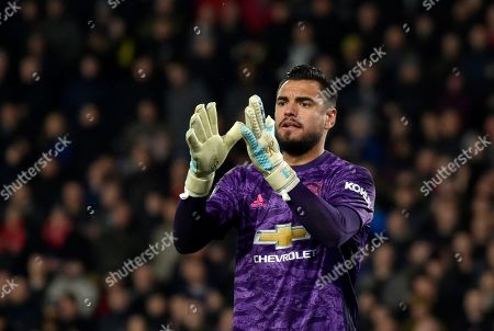 Manchester United's goalkeeper Sergio Romero gestures during the FA Cup fifth round soccer match between Derby County and Manchester United at Pride Park in Derby, England