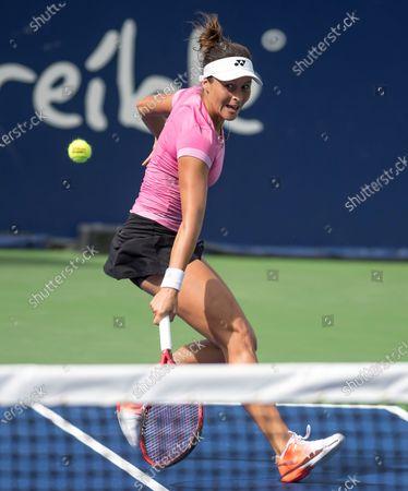 Stock Image of German Tatjana Maria returns a ball to British Johanna Konta during the fourth day of Monterrey Tennis Open in Monterrey, Mexico, 05 March 2020.