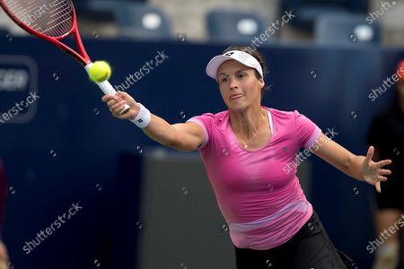German Tatjana Maria returns a ball to British Johanna Konta during the fourth day of Monterrey Tennis Open in Monterrey, Mexico, 05 March 2020.