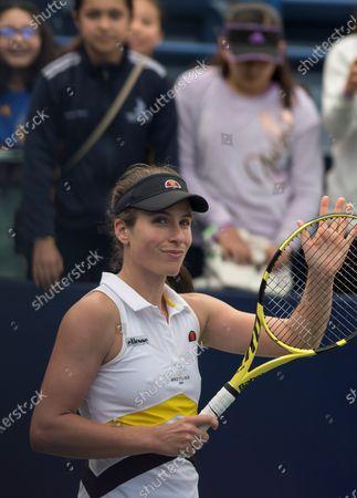 British Johanna Konta celebrates after defeating German Tatjana Maria during the fourth day of Monterrey Tennis Open in Monterrey, Mexico, 05 March 2020.
