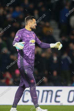 Manchester United goalkeeper Sergio Romero during the The FA Cup match between Derby County and Manchester United at the Pride Park, Derby