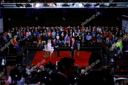 President Donald Trump speaks during a FOX News Channel Town Hall, co-moderated by FNC's chief political anchor Bret Baier of Special Report and The Story anchor Martha MacCallum, in Scranton, Pa