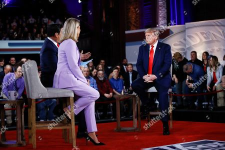 President Donald Trump takes part in a FOX News Channel Town Hall, co-moderated by FNC's chief political anchor Bret Baier of Special Report and The Story anchor Martha MacCallum, in Scranton, Pa