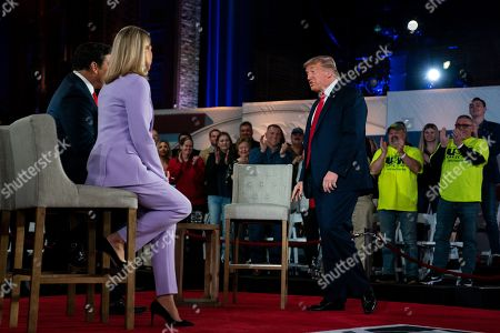President Donald Trump speaks during a FOX News Channel town hall at the Scranton Cultural Center, in Scranton, Pa., co-moderated by FNC's chief political anchor Bret Baier of Special Report and The Story anchor Martha MacCallum