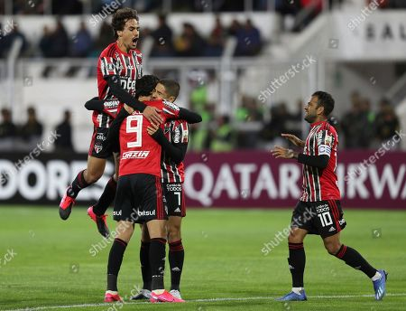 Alexandre Pato, third left, of Brazil's Sao Paulo, celebrates with his teammates after scoring against Peru's Binacional during a Copa Libertadores soccer match at the Guillermo Briceno Stadium in Juliaca, Peru
