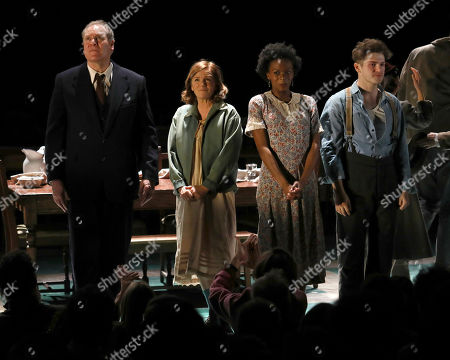 """Stock Picture of Jay O. Sanders, Mare Winningham, Kimber Elayne Sprawl, Colton Ryan. Jay O. Sanders, from left, Mare Winningham, Kimber Elayne Sprawl and Colton Ryan appear on stage during the Broadway opening night curtain call of """"Girl From The North Country,"""" at the Belasco Theatre, In New York"""