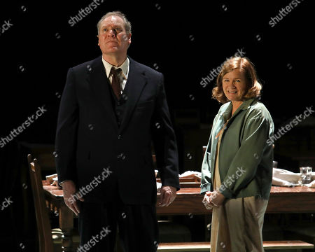 """Stock Image of Jay O. Sanders, Mare Winningham. Jay O. Sanders, left, and Mare Winningham appear on stage during the Broadway opening night curtain call of """"Girl From The North Country,"""" at the Belasco Theatre, in New York"""
