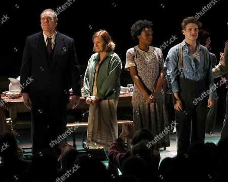 """Jay O. Sanders, Mare Winningham, Kimber Elayne Sprawl, Colton Ryan. Jay O. Sanders, from left, Mare Winningham, Kimber Elayne Sprawl and Colton Ryan appear on stage during the Broadway opening night curtain call of """"Girl From The North Country,"""" at the Belasco Theatre, in New York"""