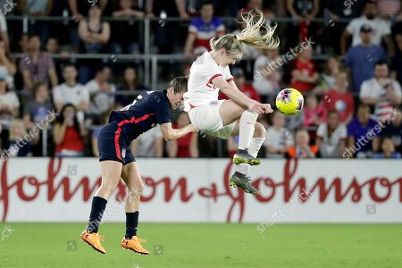 Lauren Hemp, Kelley O'Hara. England's Lauren Hemp, right, collides with United States' Kelley O'Hara, left, going for a header in the first half of a She Believes Cup soccer match, in Orlando, Fla