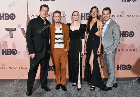 Jonathan Nolan, Aaron Paul, Evan Rachel Wood, and Lisa Joy and Casey Bloys