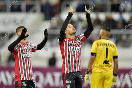 Stock Picture of Alexandre Pato (C) of Sao Paulo celebrates after scoring during the Copa Libertadores group D soccer match between Binacional and Sao Paulo, at the Guillermo Briceno Rosamedina Stadium in Julica, Peru, 05 March 2020.