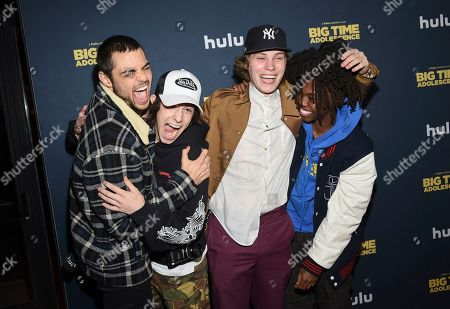 """Noah Centineo, Diego Velazquez, Gabe Gometz, Levi Berlin. Actor Noah Centineo, left, and friends Diego Velazquez, Gabe Gometz and Levi Berlin attend the premiere of """"Big Time Adolescence"""" at Metrograph, in New York"""