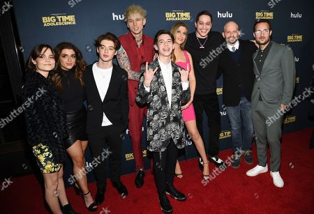 "Oona Laurence, Brielle Barbusca, Thomas Barbusca, Machine Gun Kelly, Griffin Gluck, Emily Arlook, Pete Davidson, John Cryer, Jason Orlay. Actors Oona Laurence, left, Brielle Barbusca, Thomas Barbusca, Machine Gun Kelly, Griffin Gluck, Emily Arlook, Pete Davidson, John Cryer and director Jason Orlay pose together at the premiere of ""Big Time Adolescence"" at Metrograph, in New York"