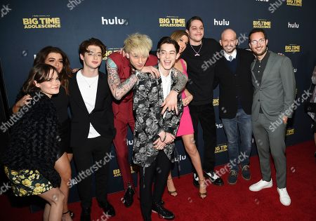 "Stock Photo of Oona Laurence, Brielle Barbusca, Thomas Barbusca, Colson Baker, Griffin Gluck, Emily Arlook, Pete Davidson, Jon Cryer, Jason Orley. Actors Oona Laurence, left, Brielle Barbusca, Thomas Barbusca, Colson Baker, Griffin Gluck, Emily Arlook, Pete Davidson, Jon Cryer and director Jason Orley pose together at the premiere of ""Big Time Adolescence"" at Metrograph, in New York"