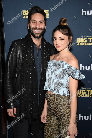 """Stock Photo of Nev Schulman, Laura Perlongo. Nev Schulman, left, and Laura Perlongo attend the premiere of """"Big Time Adolescence"""" at Metrograph, in New York"""