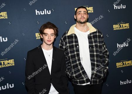 "Thomas Barbusca, Noah Centineo. Actors Thomas Barbusca, left, and Noah Centineo attend the premiere of ""Big Time Adolescence"" at Metrograph, in New York"