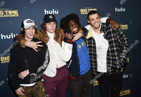 """Diego Velazquez, Gabe Gometz, Levi Berlin, Noah Centineo. Diego Velazquez, left, Gabe Gometz, Levi Berlin and Noah Centineo attend the premiere of """"Big Time Adolescence"""" at Metrograph, in New York"""