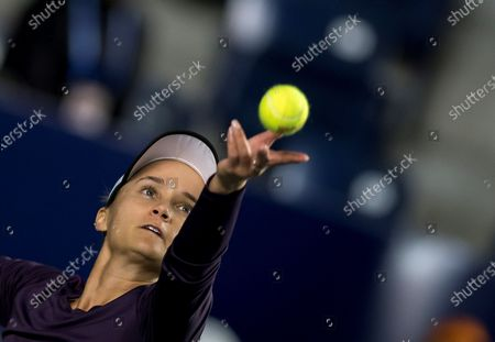 Lauren Davis of the USA in action against Arantxa Rus of the Netherlands during the Women's Singles match at the Monterrey Open tennis tournament, in Monterrey, Mexico, 05 March 2020.