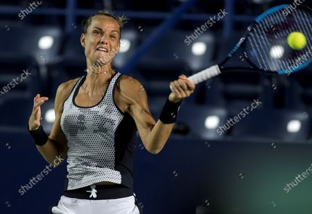 Arantxa Rus of the Netherlands in action against Lauren Davis of the USA during the Women's Singles match at the Monterrey Open tennis tournament, in Monterrey, Mexico, 05 March 2020.