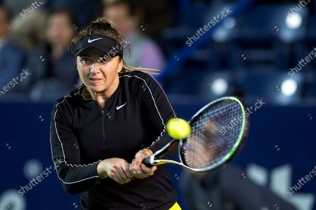 Elina Svitolina of Ukraine in action against Olga Govortsova of Belarus during the Women's Singles match at the Monterrey Open tennis tournament, in Monterrey, Mexico, 05 March 2020.