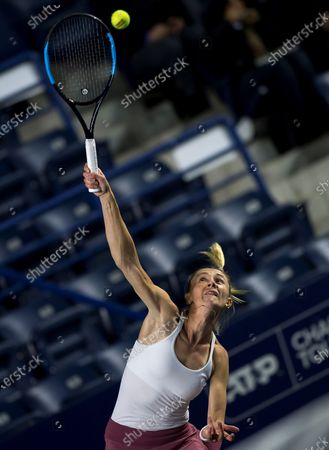 Olga Govortsova of Belarus in action against Elina Svitolina of Ukraine during the Women's Singles match at the Monterrey Open tennis tournament, in Monterrey, Mexico, 05 March 2020.