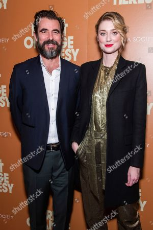 """Elizabeth Debicki, Claes Bang. Claes Bang and Elizabeth Debicki attend a screening of """"The Burnt Orange Heresy"""", hosted by Sony Pictures Classics with The Cinema Society, at the Roxy Cinema, in New York"""