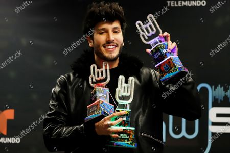 Stock Photo of Sebastian Yatra addresses the press after winning three awards during the the Tu Musica Urbano Awards 2020, at the Jose Miguel Agrelot Coliseum in San Juan, Puerto Rico, 05 March 2020.