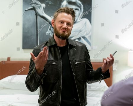 Stock Photo of American Interior designer and reality television personality Bobby Berk attends the Art & Design Gallery Opening at Louis Shanks Furniture