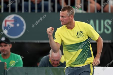 Australia's coach Lleyton Hewitt reacts during the Davis Cup Qualifier between Thiago Monteiro of Brazil and Jordan Thompson of Australia at the Memorial Drive Tennis Centre in Adelaide, Australia, 06 March 2020.
