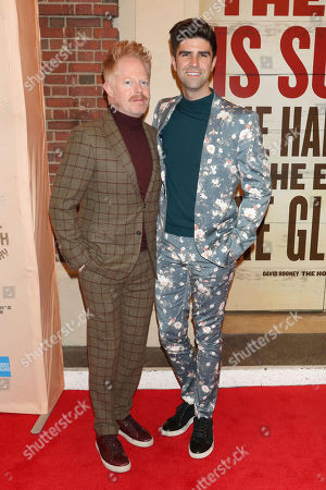 """Stock Image of Jesse Tyler Ferguson, Justin Mikita. Jesse Tyler Ferguson, left, and Justin Mikita attend the Broadway opening night of """"Girl From The North Country"""" at the Belasco Theatre, In New York"""