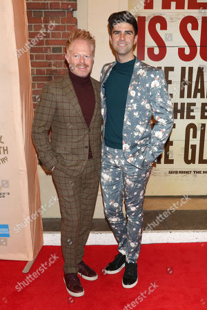 """Jesse Tyler Ferguson, Justin Mikita. Jesse Tyler Ferguson, left, and Justin Mikita attend the Broadway opening night of """"Girl From The North Country"""" at the Belasco Theatre, In New York"""