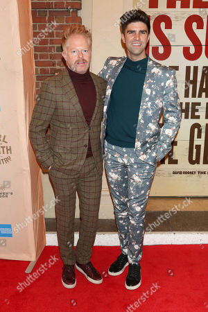 """Stock Picture of Jesse Tyler Ferguson, Justin Mikita. Jesse Tyler Ferguson, left, and Justin Mikita attend the Broadway opening night of """"Girl From The North Country"""" at the Belasco Theatre, In New York"""