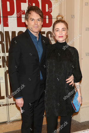 """Stock Image of Michael C. Hall, Morgan Macgregor. Michael C. Hall and Morgan Macgregor attend the Broadway opening night of """"Girl From The North Country"""" at the Belasco Theatre, In New York"""