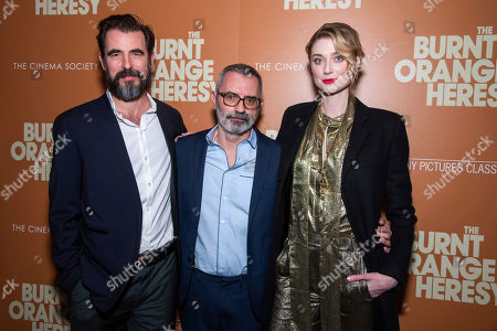 """Elizabeth Debicki, Claes Bang, Giuseppe Capotondi. Claes Bang, left, Giuseppe Capotondi and Elizabeth Debicki attend a screening of """"The Burnt Orange Heresy"""", hosted by Sony Pictures Classics with The Cinema Society, at the Roxy Cinema, in New York"""
