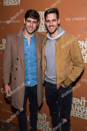 """Jordan Stenmark, Zac Stenmark. Jordan Stenmark, left, and Zac Stenmark attend a screening of """"The Burnt Orange Heresy"""", hosted by Sony Pictures Classics with The Cinema Society, at the Roxy Cinema, in New York"""