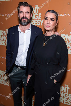 """Claes Bang, Liz Louis-Jensen. Claes Bang and Liz Louis-Jensen attend a screening of """"The Burnt Orange Heresy"""", hosted by Sony Pictures Classics with The Cinema Society, at the Roxy Cinema, in New York"""