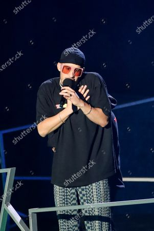 Puerto Rican singer Bad Bunny speaks after winning the Spotify artist of the year Award during the Spotify Awards 2020 in Mexico City, Mexico, 05 March 2020.