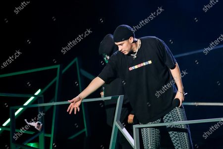 Puerto Rican singer Bad Bunny throws his sunglasses to supporters after winning the Spotify artist of the year Award during the Spotify Awards 2020 in Mexico City, Mexico, 05 March 2020.