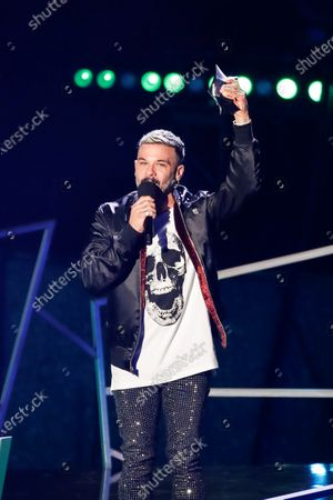 Stock Image of Puerto Rican musician Pedro Capo speaks after winning the Most-Streamed Track Award for Calma Remix during the Spotify Awards 2020 in Mexico City, Mexico, 05 March 2020.