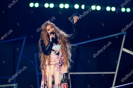 Karol G wins the Most-Streamed Female Artist Award during the Spotify Awards 2020 in Mexico City, Mexico, 05 March 2020.