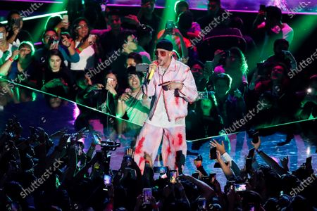 Puerto Rican singer Bad Bunny performs during the Spotify Awards 2020 in Mexico City, Mexico, 05 March 2020.