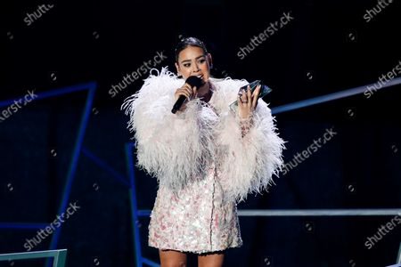 Stock Image of Danna Paola receives the award for Biggest Increase in Fans - Female Artist during the Spotify Awards 2020 in Mexico City, Mexico, 05 March 2020.