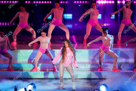 Karol G (C) performs during the Spotify Awards 2020 in Mexico City, Mexico, 05 March 2020.