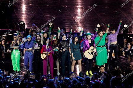 Stock Photo of Female artists including Julieta Venegas perform a song against gender violence during the Spotify Awards 2020 in Mexico City, Mexico, 05 March 2020.