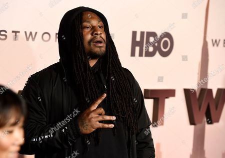 """NFL football running back Marshawn Lynch, a cast member in the HBO series """"Westworld,"""" poses at the Season 3 premiere of the show at the TCL Chinese Theatre, in Los Angeles"""